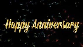 Glücklicher Jahrestag in den Goldwörtern mit Feuerwerken stock video