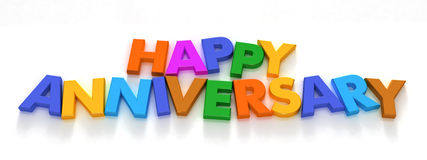 Glücklicher Jahrestag in den Großbuchstabemagneten Lizenzfreie Stockfotos
