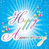 Glücklicher Jahrestag mit mehrfarbigen Ballonen, bunter Stern auf blauem Hintergrund Glückliche Jahrestagskarte Stockfotografie