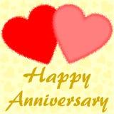 Glücklicher Jahrestag mit zwei großen roten Herzen Lizenzfreie Stockfotos