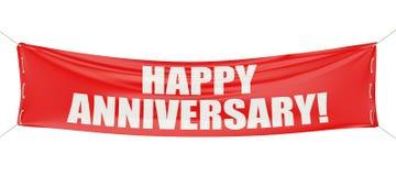 Glücklicher Jahrestag! Rote Fahne stock abbildung