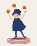 Glücklicher Jongleur Boy Cartooned auf eine Plattform Stockfoto