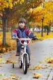 Glücklicher Junge in den Herbstparkfahrten stockfoto