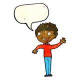 glücklicher Junge der Karikatur, der mit Spracheblase wellenartig bewegt Lizenzfreie Stockfotos