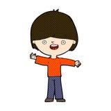 glücklicher Junge der komischen Karikatur Stockfotos