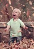Glücklicher Junge, der mit dem Glück schreit Stockfoto