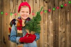 Glücklicher Junge, der Santa Hat Holding Christmas Tree auf einem hölzernen Fenn trägt Stockbilder