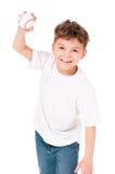 Junge mit Baseballkugel Stockfotos