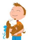 Glücklicher Junge mit einer Hund-vectorial Abbildung Stockfotos