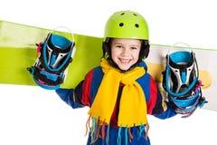 Glücklicher Junge mit Snowboard Stockbilder