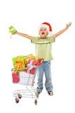 Glücklicher Junge mit Weihnachtsgeschenken Stockfotografie
