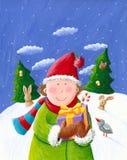 Glücklicher Junge mit Weihnachtsgeschenkkasten Stockbilder