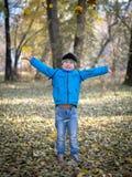 Glücklicher Junge wirft Blätter in Herbst Park stockbilder