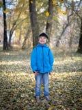Glücklicher Junge wirft Blätter in Herbst Park lizenzfreies stockbild