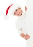 Glücklicher junger Mann Weihnachtssankt im Hut Stockbilder