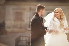 Glücklicher Jungvermähltenbräutigam, der blonde schöne Braut von hinten umarmt Lizenzfreies Stockbild