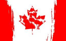 Glücklicher Kanada-Tag, am 1. Juli Feiertag feiern Karte Ahornblatt auf der Flagge gemacht im Bürstenanschlaghintergrund stock abbildung