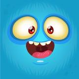 Glücklicher Karikaturmonster-Gesichtsavatara Mond nachts Druckdesign für T-Shirts lizenzfreie abbildung