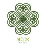 Glücklicher Klee mit vier Blättern in der keltischen Art stock abbildung