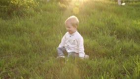 Glücklicher kleiner Junge, der auf dem Gras im Park sitzt stock video