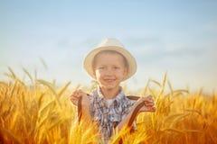 Glücklicher kleiner Junge, der auf Weizensommerfeld geht Herbstblattrand mit verschiedenem Gemüse auf weißem Hintergrund Lizenzfreie Stockbilder