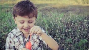 Glücklicher kleiner Junge des Porträts, der im Park sitzt stock video footage