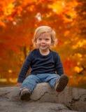 Glücklicher kleiner Junge im Herbst Stockbild