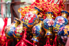 Glücklicher Knoten, Vermögensschlüsselringverzierung für Dekor des Chinesischen Neujahrsfests Lizenzfreies Stockfoto