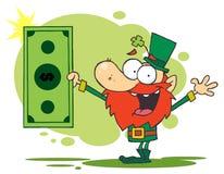Glücklicher Kobold, der Dollarschein anhält Stockfoto