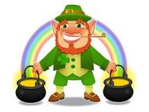 Glücklicher Kobold mit Schatz und Regenbogen stockbilder