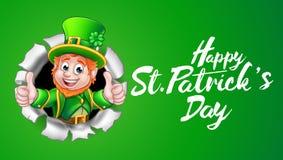 Glücklicher Kobold St. Patricks Tagesgreift oben ab Stockbild