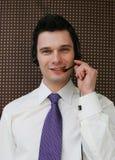 Glücklicher Kundenkontaktcenterbediener Stockfotografie