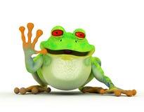 Glücklicher lächelnder Toon-Frosch Stockfoto