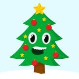 Glücklicher lächelnder Weihnachtsbaum Stockbilder