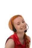 Glücklicher lachender Call-Center-Betreiber Stockbild