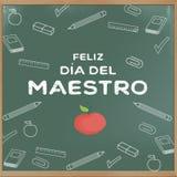 Glücklicher Lehrer ` s Tag auf spanisch Lizenzfreie Stockfotos