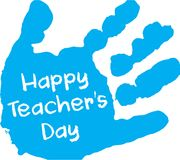 Glücklicher Lehrer ` s Tagesblauer Handdruck Lizenzfreies Stockbild