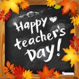 Glücklicher Lehrer ` s Tagesvektorhintergrund auf dunkler Tafel Lizenzfreies Stockbild
