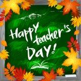 Glücklicher Lehrer ` s Tagesvektorhintergrund auf grüner Tafel Stockbild