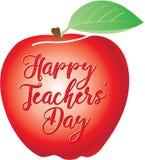 Glücklicher Lehrer ` Tag geschrieben auf einen roten Apfel Stockbild