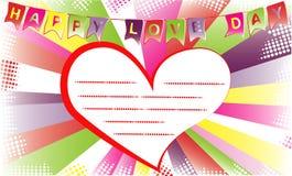 Glücklicher Liebestag Hintergrund für Einladungs- oder Glückwunschkartenschablone Stockfotos