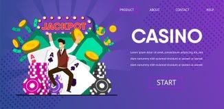 Glücklicher Lucky Man Winner Hit Jackpot am Kasino stock abbildung