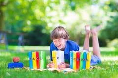 Glücklicher lustiger Junge, der zurück zur Schule geht Stockfoto