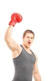 Glücklicher männlicher Boxer, der rote Boxhandschuhe trägt und Triumph gestikuliert Lizenzfreie Stockfotos
