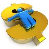 Glücklicher Mann 3D auf goldenem Dollar Stockfotografie