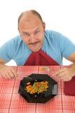 Glücklicher Mann auf einer Diät stockfoto