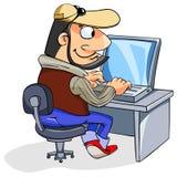 Glücklicher Mann, der einen Laptop verwendet stock abbildung