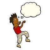 glücklicher Mann der Karikatur, der lustigen Tanz mit Gedankenblase tut Stockbilder