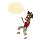 glücklicher Mann der Karikatur, der lustigen Tanz mit Gedankenblase tut Stockfotos