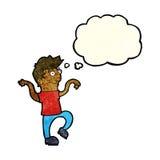 glücklicher Mann der Karikatur, der lustigen Tanz mit Gedankenblase tut Stockfotografie